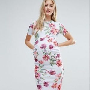 ASOS Maternity Floral Bodycon Dress - Grey/Blue